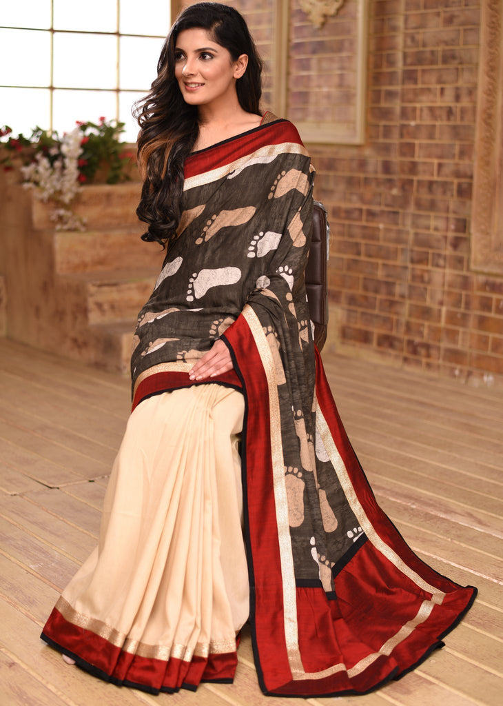 Saree - Soft Printed Cotton & Off White Mul Cotton Combination Pleats Saree