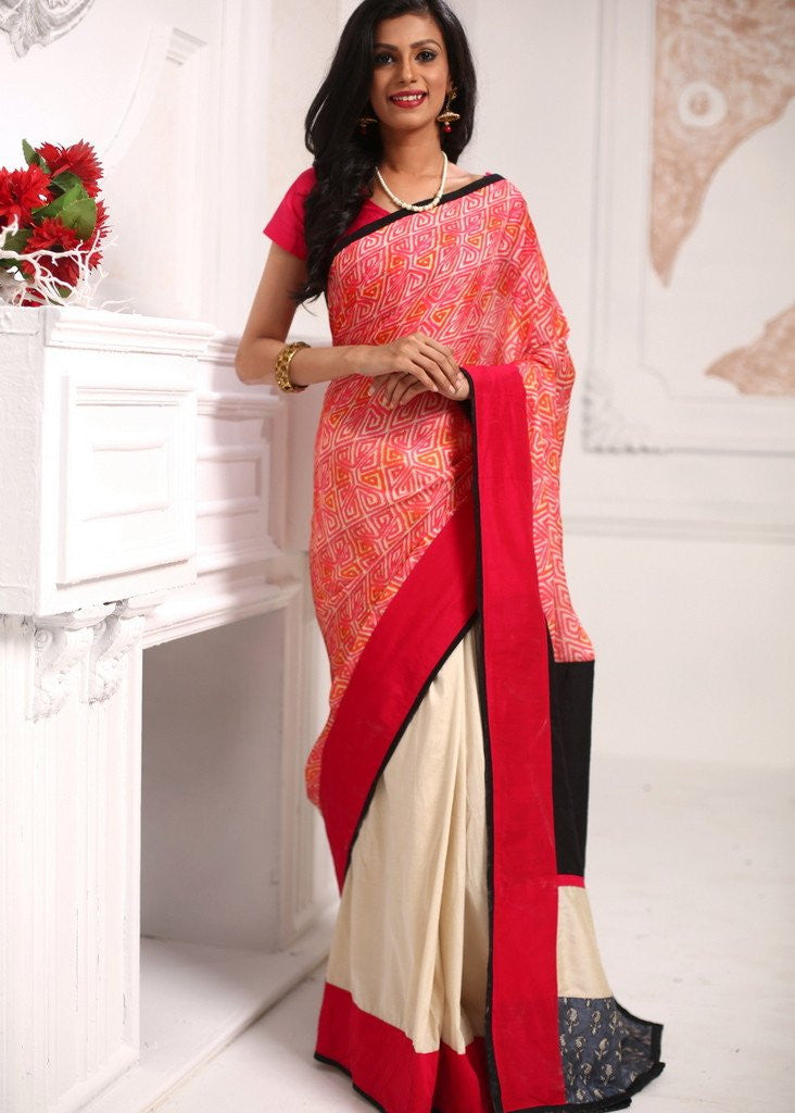 Saree - Soft Printed Semi Silk With Offwhite Cotton Silk Pleats Saree