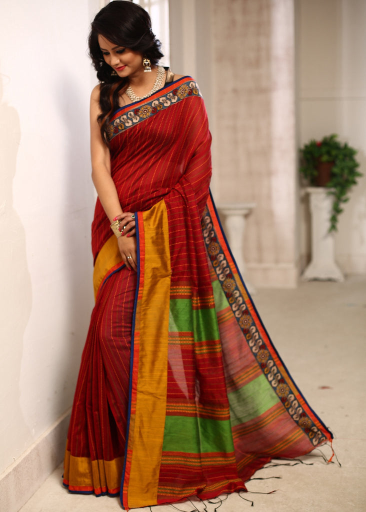 Saree - Striped Bengal Soft Cotton Saree With Handpainted Kalamkari Border