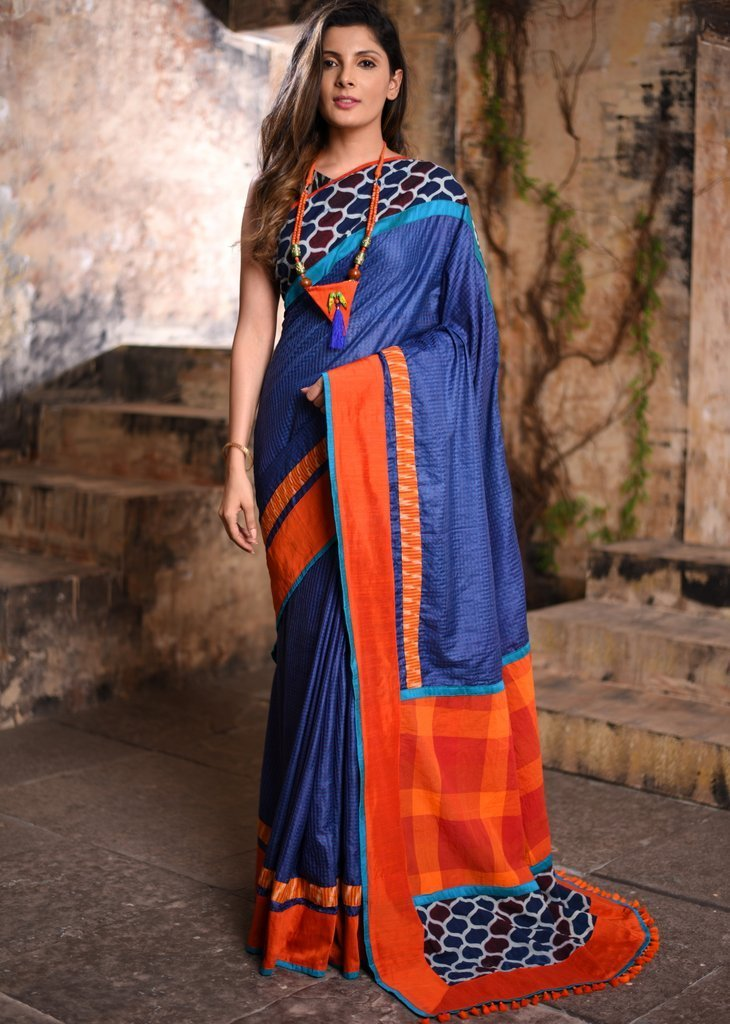 Saree - Striped Blue Cotton Silk Saree With Ajrakh Border