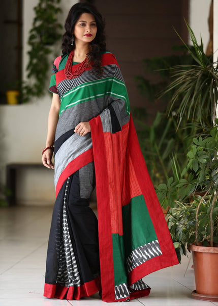 Striped handloom cotton saree with black chanderi pleats & ikat patches