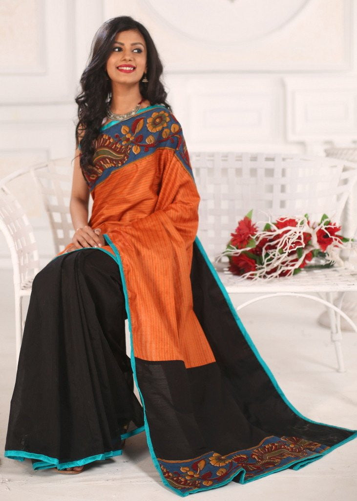 Saree - Striped Silk With Kalamkari Border And Black Chanderi Pleats Saree