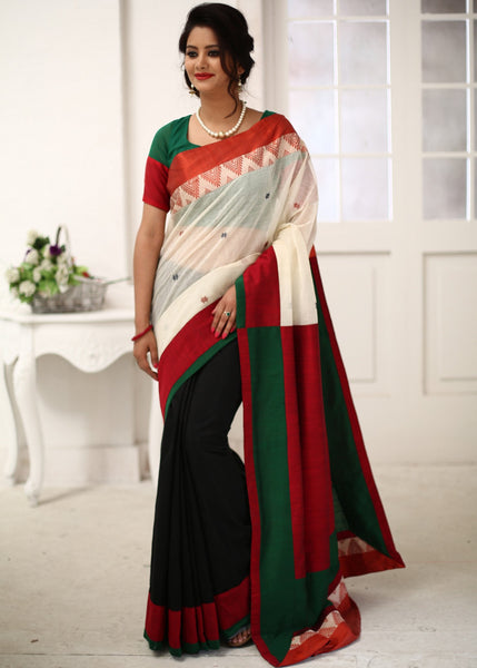 Saree - Traditional Red & White Bengal Cotton With Black Chanderi Pleats & Red Cotton Silk Pallu Saree