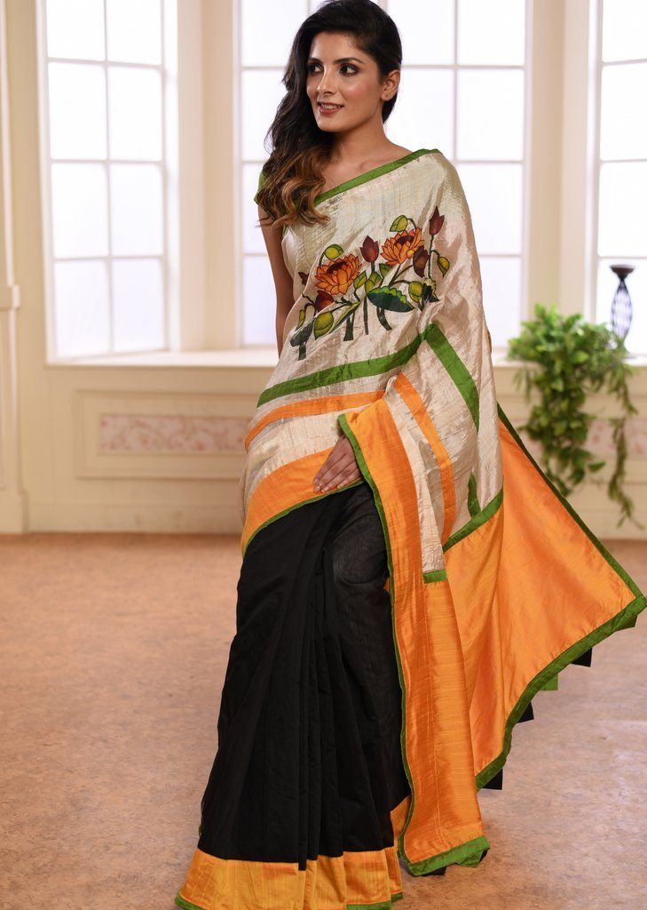 Saree - Tussar Silk & Black Chanderi Combination Saree With Exclusive Hand Painted Motif