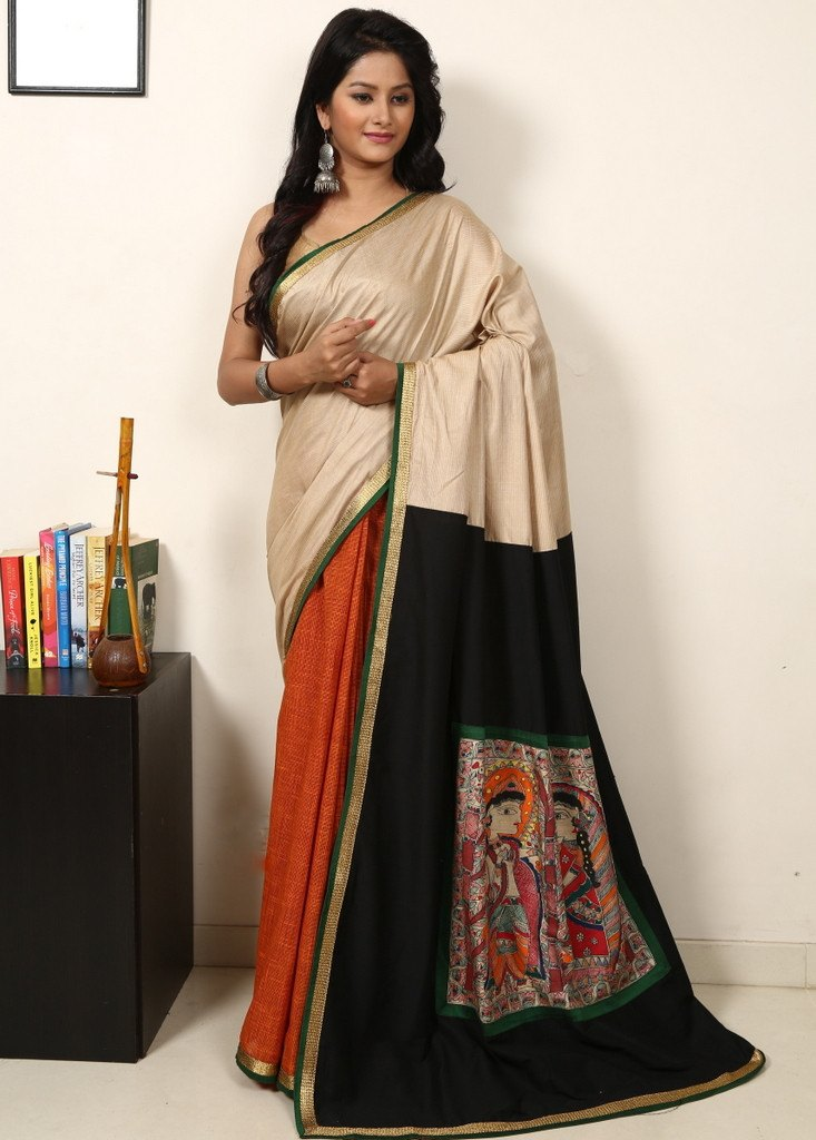 Saree - Tussar Silk With Handloom Brown Cotton With Black Slub Silk & Hand Painted Madhubani Work