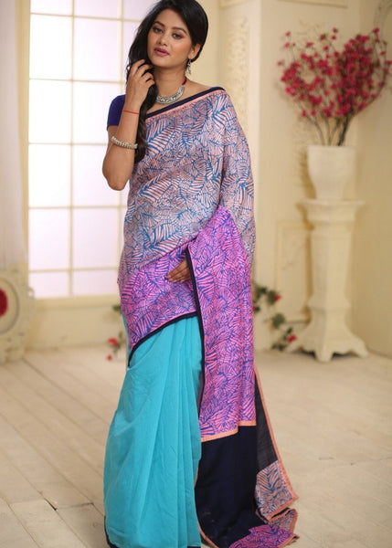 Saree - Two Toned Pure Raw Silk With Chanderi Pleats