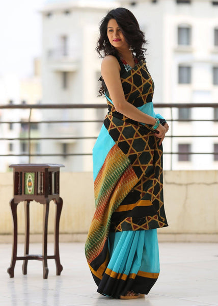 Unique ajrakh print  & ikat combinatoin on blue chanderi saree - Sujatra