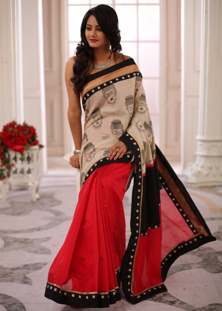 Saree - Unique Buddha Printed Jute Cotton With Red Chanderi Combination And Exquisite Zari Border Saree