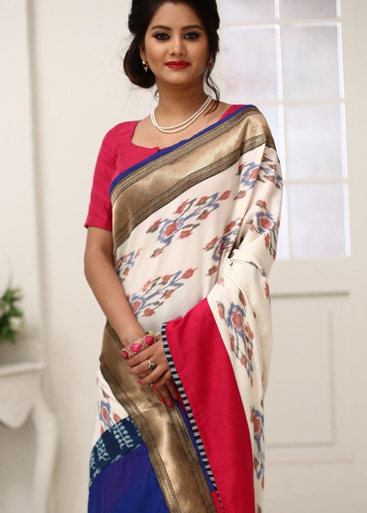 Unique Ikat and chanderi pleats combination saree with zari border - Sujatra
