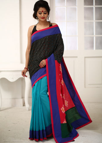 Unique ikat combination saree with blue chanderi