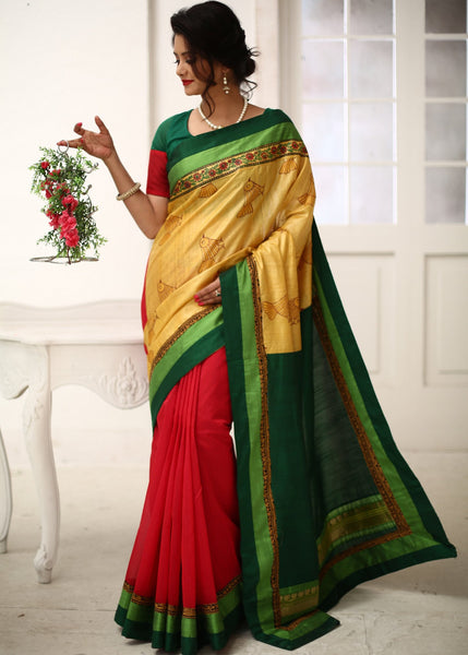 Saree - Unique Printed Raw Silk With Green & Red Cotton Silk Combination Saree
