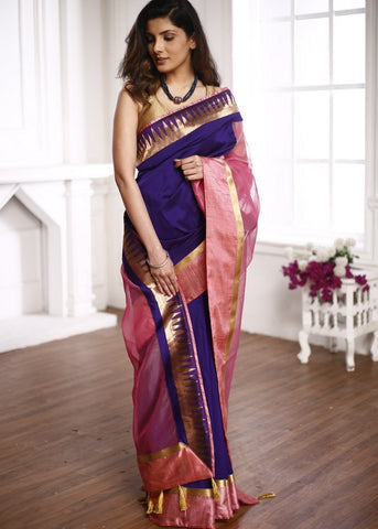Violet semi silk saree with pink organza pallu and benarasi border