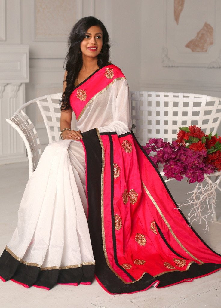 Saree - White Chanderi Saree With Benrasi Work Pallu