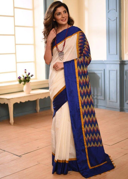 Saree - White Chanderi Saree With Blue Ikat Combination