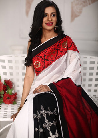 White chanderi saree with exclusive zari with printed cotton pleats combination