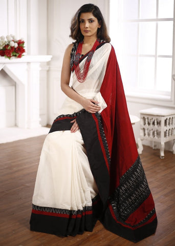 White Chanderi Saree with ikat Border & cotton Silk pallu with Ikat BP