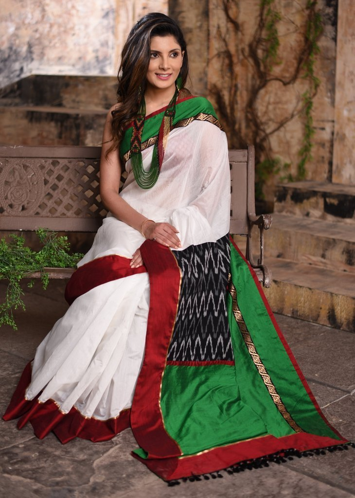 Saree - White Chanderi Saree With Ikat Patch On Pallu