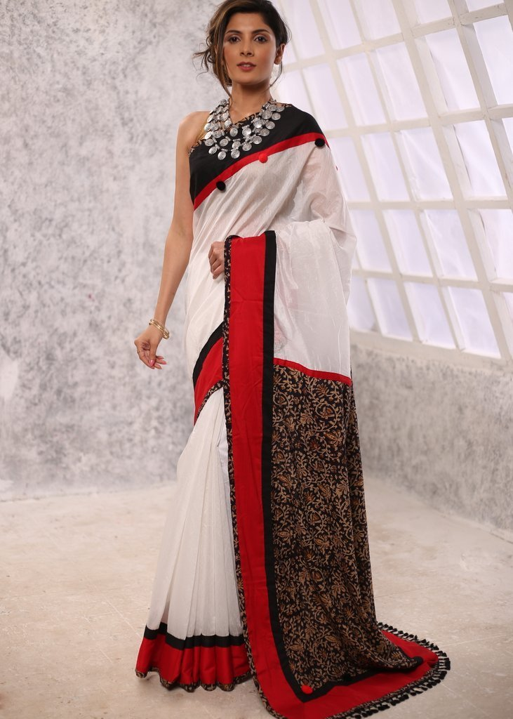 Saree - White Chanderi Saree With Printed Kalamkari Pallu