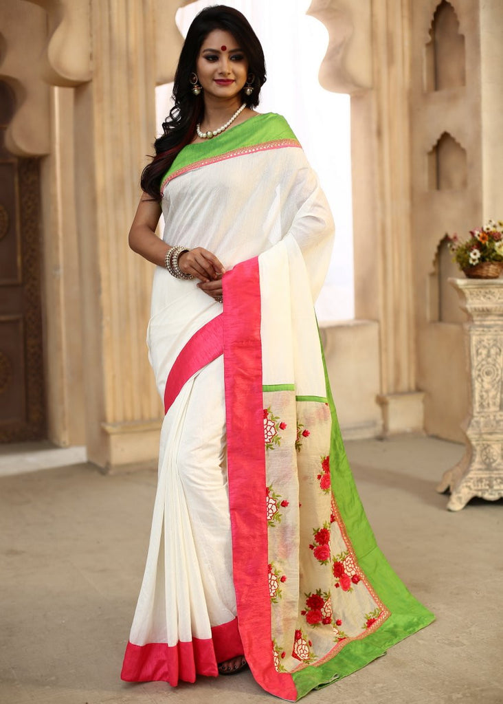 Saree - White Chanderi With Embroidered Pallu