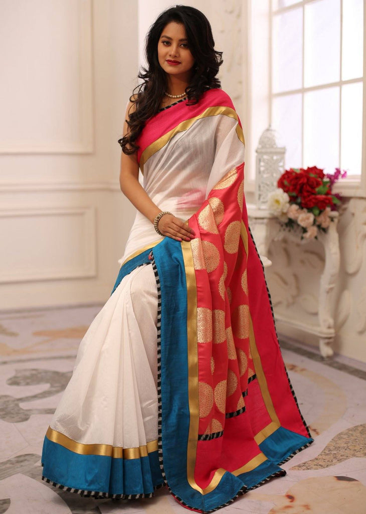 Saree - White Chanderi With Pink Banarasi Work Satin Pallu