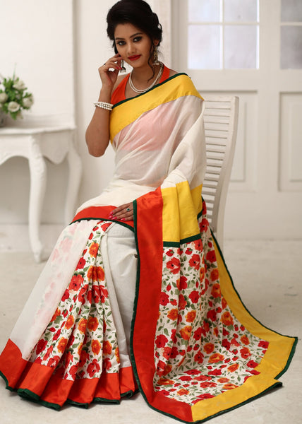 Saree - White Chanderi With Printed Floral Motifs Saree