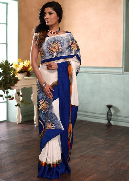 Saree - White French Crepe Saree With Hand Painted Gond Tribal Art