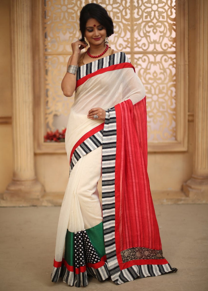 Saree - White Kota With Ikat Border & Pink Bengal Silk Striped Pallu