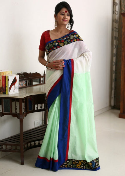 Saree - White & Pista Green Chanderi With Hand Painted Kalamkari Border