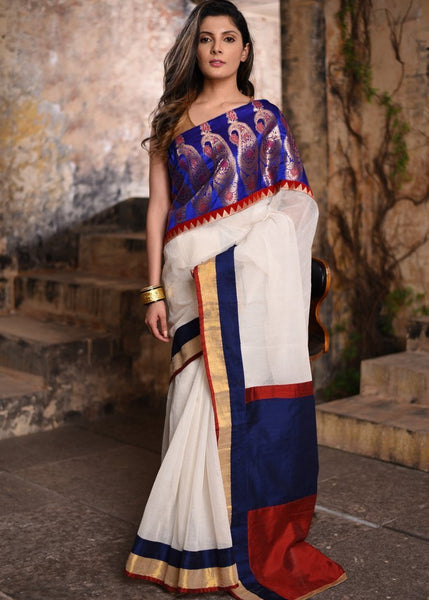 Saree - White Pure Cotton Saree With Exclusive Benarasi Work In Front