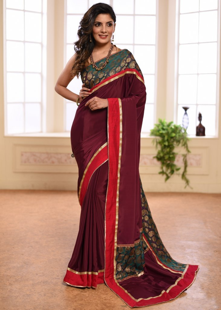 Saree - Wine Colored French Crepe Saree With Exclusive Benartasi Border