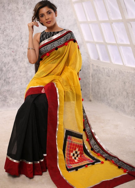 Saree - Yellow & Black Chanderi Combination Saree With Exclusive Zari Border