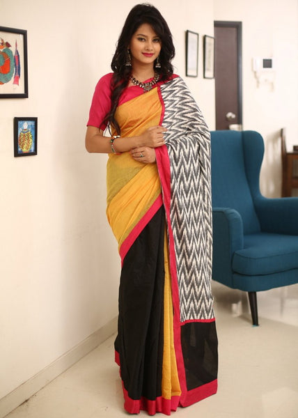 Saree - Yellow & Black Chanderi With Ikat Pallu
