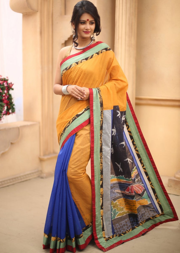 Yellow & blue chanderi Saree with hand batik work on pure silk pallu - Sujatra