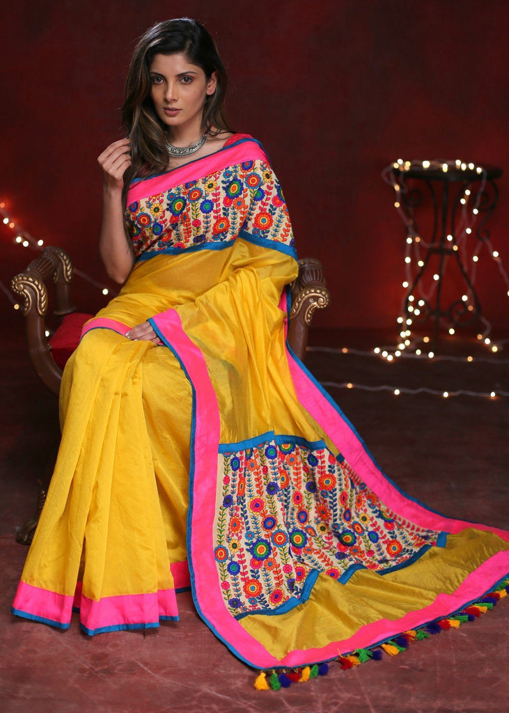 Saree - Yellow Chanderi Saree With Exlclusive Embroidered Patch On Pallu And Front