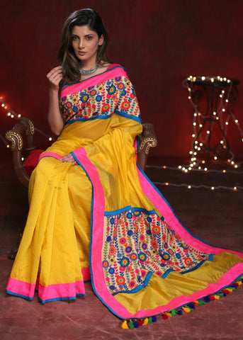 Yellow Chanderi saree with exlclusive embroidered patch on pallu and front