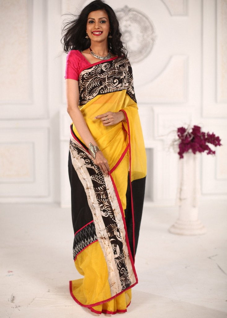 Saree - Yellow Chanderi Saree With Hand Batik Border