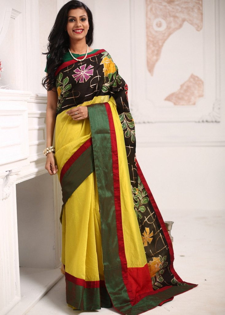 Yellow chanderi saree with hand batik border - Sujatra