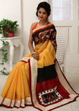 Saree - Yellow Chanderi Saree With Hand Batik Work In Front And Pallu