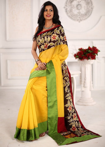 Yellow chanderi saree with hand batik work on border