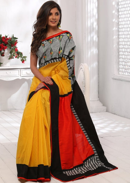Saree - Yellow Chanderi Saree With Hand Painted Gond Tribal Art And Cotton Silk Pallu