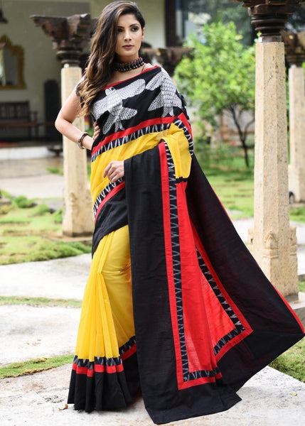 Saree - Yellow Chanderi Saree With Hand Painted Gond Work & Ikat Border