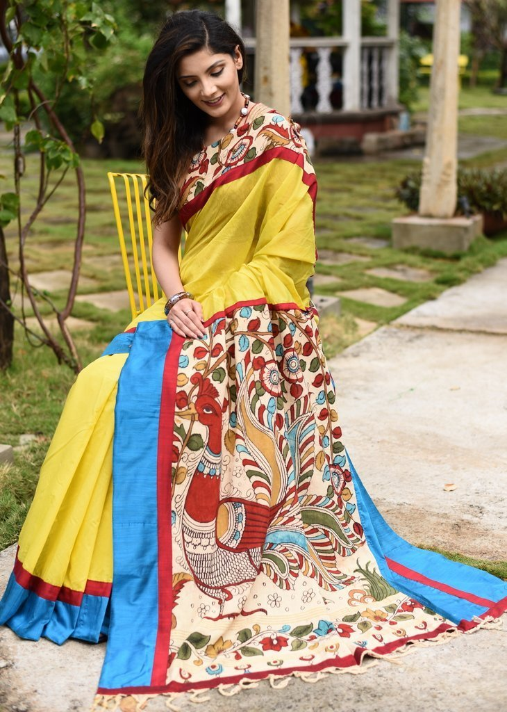 Saree - Yellow Chanderi Saree With Hand Painted Kalamkari Pallu