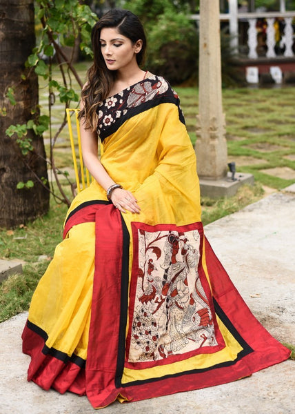 Saree - Yellow Chanderi Saree With Hand Painted Kalamkari Patch On Pallu & Border