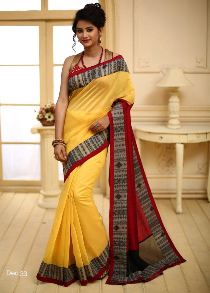 Yellow chanderi with artistic woven border - Sujatra