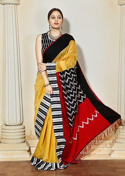 Yellow Chanderi With Ikat Pallu & Ikat Border
