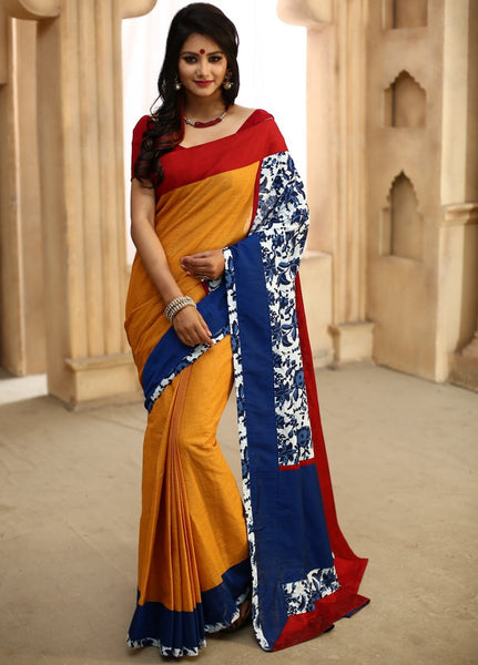 Saree - Yellow Chanderi With Indigo Printed Cotton Pallu