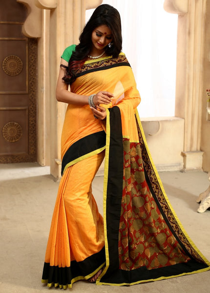 Saree - Yellow Chanderi With Kalamkari Printed Pallu & Hand Kalamkari Border