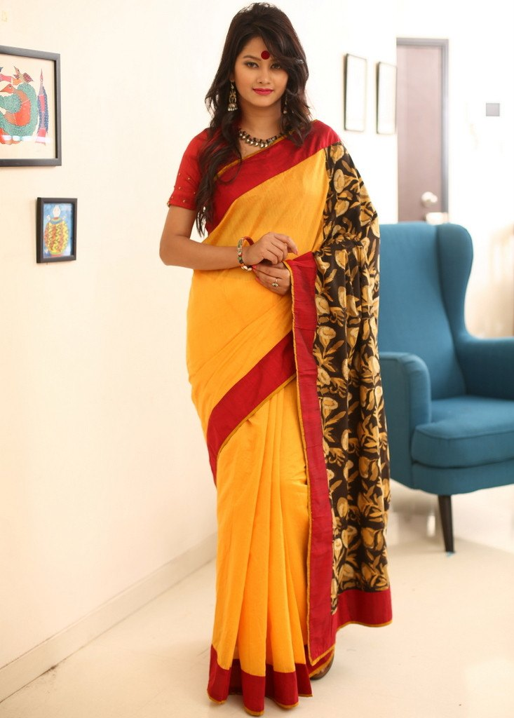 Saree - Yellow Chanderi With Rajasthani Printed Cotton Pallu