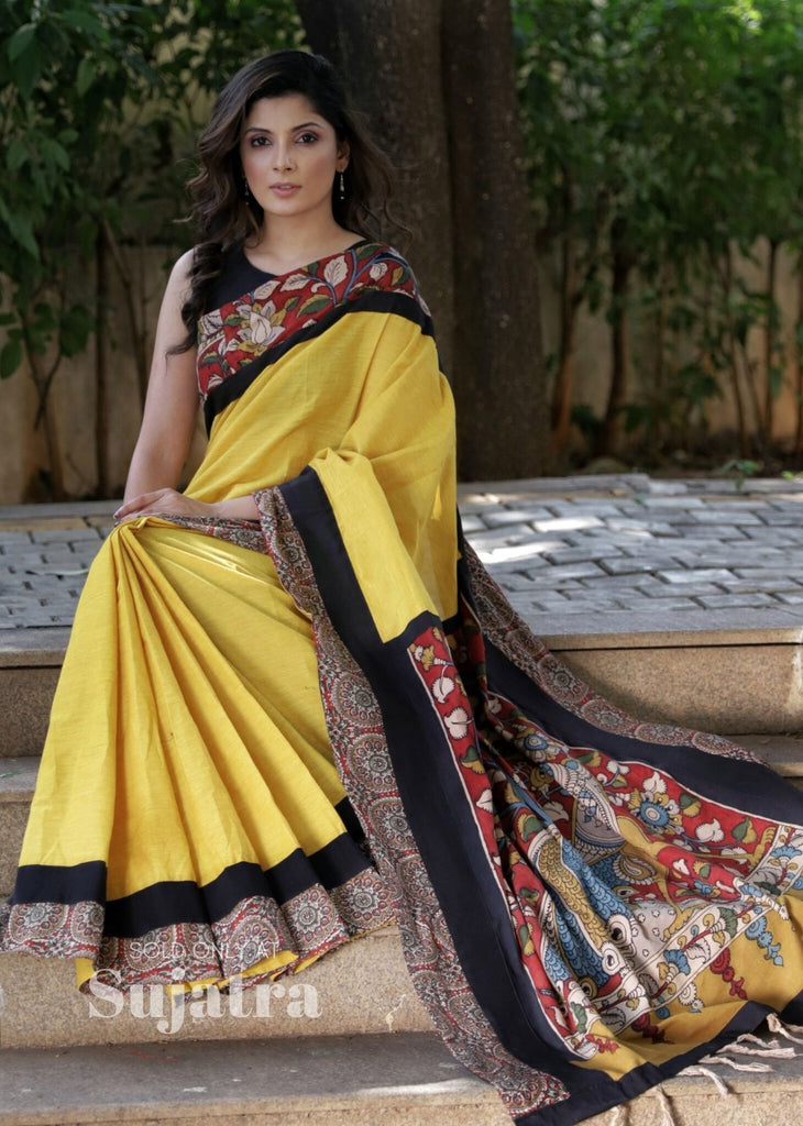 Saree - Yellow Handloom Cotton Saree With Hand Painted Kalamkari Pallu