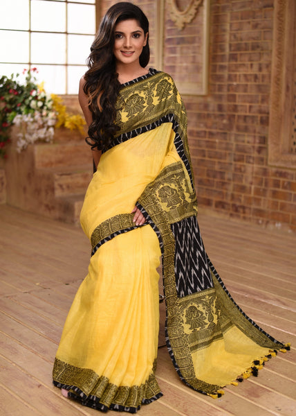 Saree - Yellow Pure Linen Saree With Jaquard Embroidery & Ikat Combination
